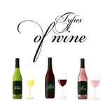 Les bouteilles de vin rouge, blanc et se sont levées - dessin d'isolement Images stock