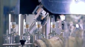 Les bouteilles se déplacent sur une ligne à examiner sur une machine spéciale 4K banque de vidéos