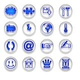 Les boutons bleus d'icônes de Web ont placé la partie Photographie stock libre de droits