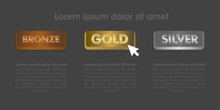 Les boutons d'argent et de bronze d'or ont placé avec l'illustration d'icône de clic de souris Image libre de droits