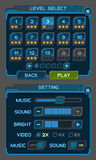 Les boutons d'interface ont placé pour des jeux ou des apps de l'espace Image stock
