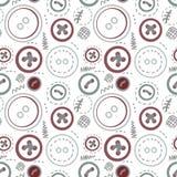 Les boutons de cru cousent le modèle sans couture Image stock