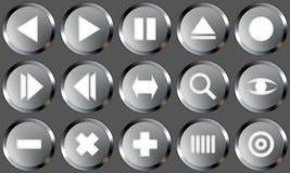 Les boutons en métal ont placé 2 Images libres de droits