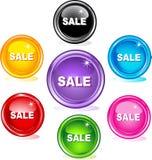 les boutons ont coloré le Web de vente Photographie stock