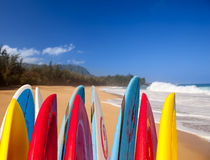 Planches de surf à la plage Kauai de Lumahai Images stock