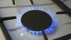 Les brûleurs à gaz un brûlent la flamme bleue sur une cuisinière à gaz clips vidéos