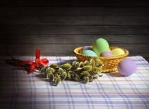Les branches du saule et des oeufs de pâques. Images libres de droits