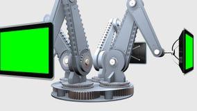 Les bras mécaniques avec des écrans de TV avec le chroma verrouillent la rotation de fond Cette animation peut être employée comm illustration libre de droits