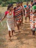 Les bras tribals de tige de femmes pour la moisson de Gdaba dansent Images stock