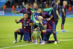 Les Bresiliens du FC Barcelone Lizenzfreie Stockfotos