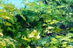 Les buissons verts laisse la peinture à l'huile de couteau de palette sur la toile photo stock