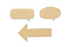 Les bulles étiquettent et papier réutilisé par flèche. image stock