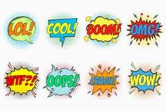 Les bulles comiques de la parole ont placé avec les émotions - LOL frais grondement OMG WTF oops crash wow Croquis de bande dessi illustration libre de droits