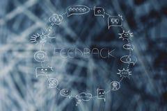 Les bulles comiques entourent avec différentes réactions à un produit ou à une Co Photo libre de droits