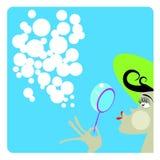 Les bulles de fille et de savon Images stock