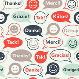Les bulles de la parole avec vous remercient modèle sans couture Image libre de droits