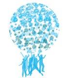 les bulles refroidissent la danse formant la forme de globe Image libre de droits