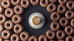 Les butées toriques de chocolat avec la tasse de café sur le fond noir 3d rendent illustration libre de droits
