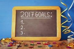 Les buts de la vue supérieure 2017 énumèrent écrit sur le tableau noir Images libres de droits