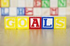 Les buts ont défini dans des modules d'alphabet Image libre de droits