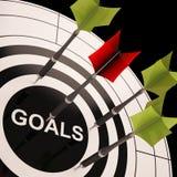 Les buts sur des expositions de cible ont aspiré des objectifs Images stock