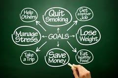 Les buts tirés par la main l'organigramme, concept d'affaires sur le tableau noir Image libre de droits