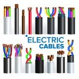 Les câbles électriques ont placé le vecteur Câblage cuivre Électricien Rubber Cord Puissance industrielle de réseau Énergie de l' illustration libre de droits