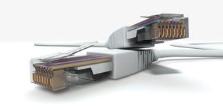 Les câbles d'Ethernet ont débranché des plans rapprochés Photographie stock libre de droits