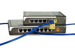 les câbles ont connecté le réseau Photographie stock libre de droits