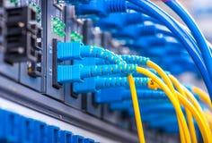 Les câbles optiques de fibre ont relié à l'les ports et le câble optiques de réseau photo libre de droits