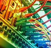 Les câbles optiques de fibre ont relié à l'les ports et les câbles optiques de réseau d'UTP photos stock