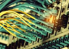 Les câbles optiques de fibre se sont reliés aux ports optiques et à l'UTP photographie stock