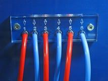Les câbles rouges et bleus emballent le segment de mémoire, pouvoir, l'électricité, Photographie stock libre de droits
