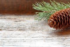 Les cônes et les branches de pin sur la copie en bois de fond de Noël de fond espacent le foyer sélectif Image libre de droits