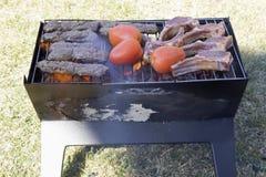 Les côtelettes, les chiches-kebabs et les tomates d'agneau sur un charbon de bois grillent Image libre de droits