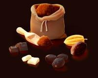 Les cacaos traitant le produit aiment la poudre, beurre, chocolat, cosses, graine Illustration Stock