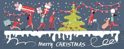 Les cadeaux de Noël d'achat, font les achats sur l'Internet, les surprise pour des parents E illustration stock