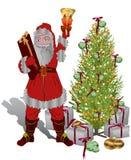 les cadeaux de Noël donnent invitent Santa à Photo stock