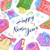 Les cadeaux de nouvelle année ou de Noël dirigent le cadre ou le fond illustration libre de droits