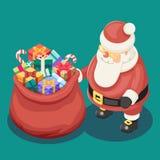 Les cadeaux mettent en sac le calibre plat d'icône de conception de Noël 3d de Santa Claus Grandfather Frost Box New de bande des Photos stock