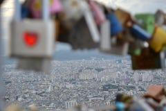 Les cadenas de l'amour ont trouvé en parc d'Apsan, Daegu, Corée La PIC était Images libres de droits
