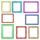 Les cadres colorés de collection sur le fond blanc Photos libres de droits