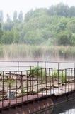 Les cages pour des poissons d'élevage Photo libre de droits