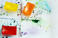 Les caisses lumineuses d'aquarelle d'arbre sur une boîte de peinture avec coloré éclabousse Photographie stock libre de droits