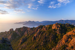 Les Calanche de Piana au coucher du soleil, Corse, France Photos stock
