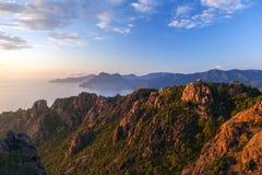 Les Calanche DE Piana bij zonsondergang, Corsica, Frankrijk Stock Foto's