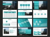 Les calibres abstraits bleus de présentation, conception plate de calibre d'éléments d'Infographic ont placé pour le tract d'inse Images stock