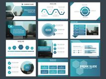 Les calibres abstraits bleus de présentation, conception plate de calibre d'éléments d'Infographic ont placé pour le tract d'inse Images libres de droits