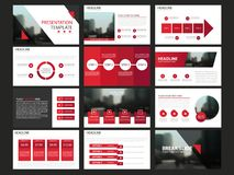Les calibres abstraits rouges de présentation, conception plate de calibre d'éléments d'Infographic ont placé pour le marché de t Photos libres de droits