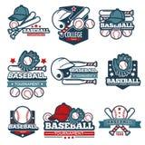 Les calibres d'icône de vecteur de base-ball ont placé de la batte, de la boule et du casque de joueur Photographie stock libre de droits